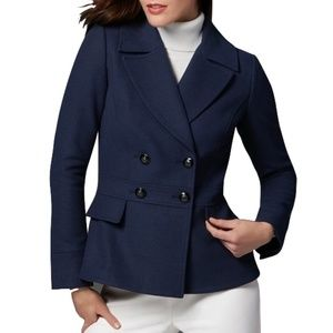 White House Black Market Coat Peplum Back Peacoat
